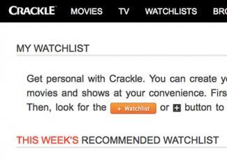 Screenshot of Crackle watchlist