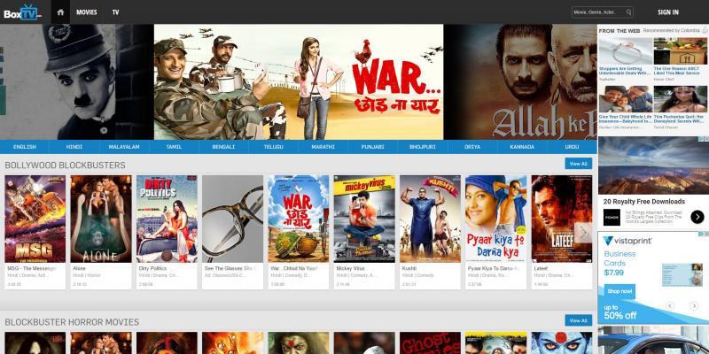 Screenshot of BoxTV