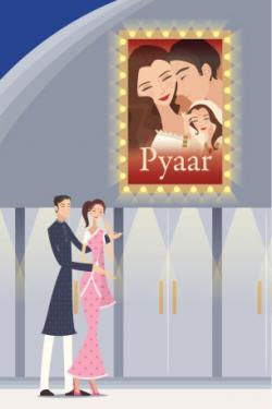 Couple in front of Bollywood movie poster