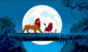 Simba, Pumbaa and Timon in The Lion King