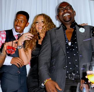 Nick Cannon, Mariah Carey and Randy Jackson at BMI Urban Icon Awards Party Hosted by Mariah Carey and Nick Cannon at Supperclub in Hollywood on September 8, 2012