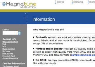 Screenshot of Magnatune website