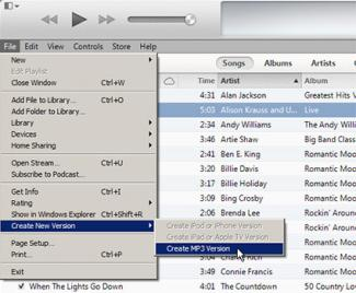 Screenshot of iTunes version 11