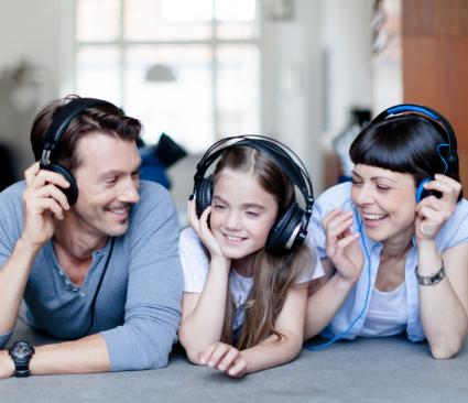 Family listening to music