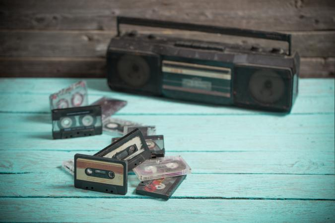 boombox and tapes