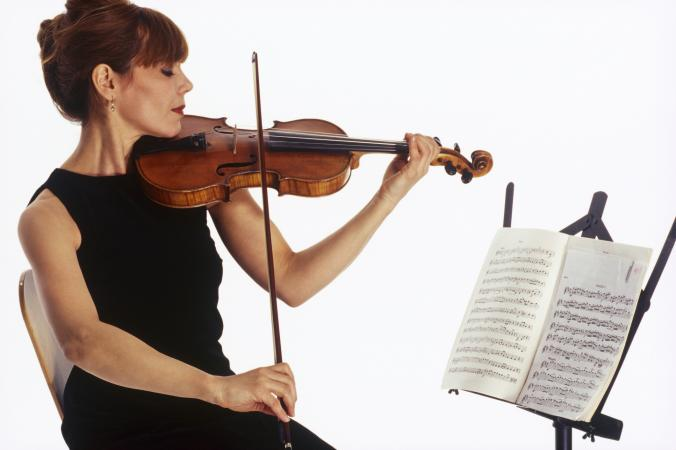 Violinist with sheet music