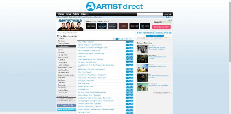 Screenshot of ArtistDirect website