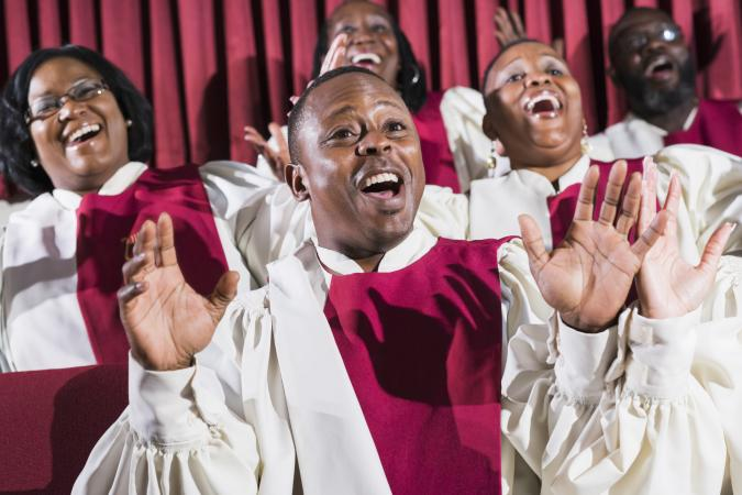 Singing in church choir