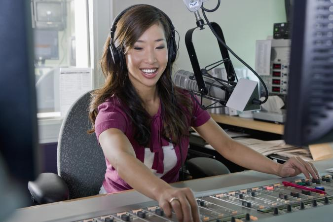 Asian dj working at radio station