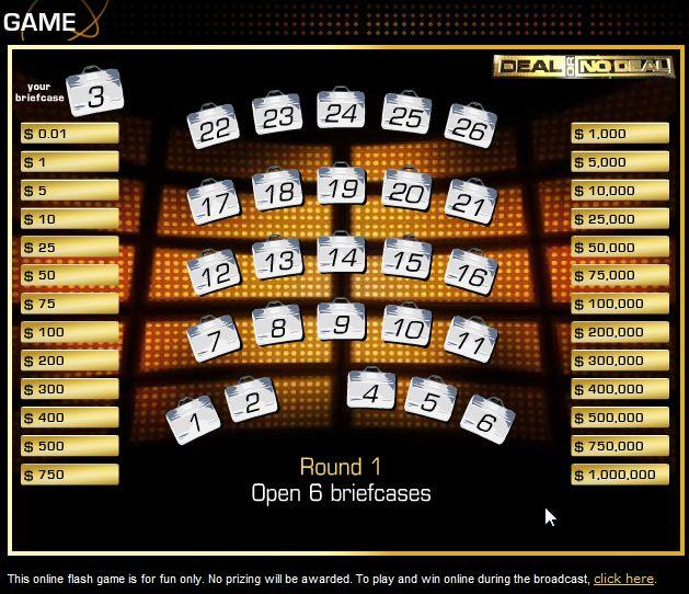 play deal or no deal online for money