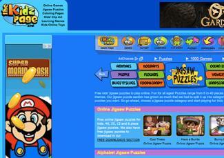 Screenshot of thekidzpage.com/onlinejigsawpuzzles/index.htm