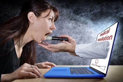 Woman during online medical consultation