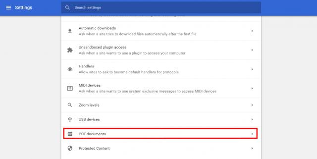 Google Chrome PDF settings