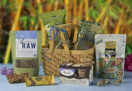 Finding all natural organic food gift baskets lovetoknow gluten free snack basket from its only natural gifts negle Choice Image