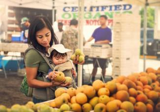 Mom and baby at Farmer's Market