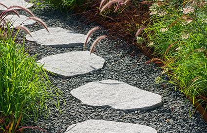 black/gray lava rock path