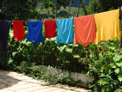 Clothing on a clothesline.