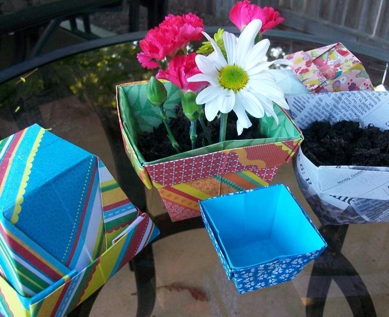 origami flower pot tutorial | craftgawker | 652x800