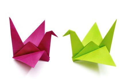 two origami cranes