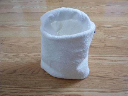 towel origami basket step 7