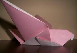 pink origami dove