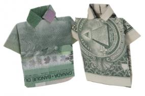Origami Money Shirt with Tie