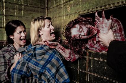 Depiction of zombie attacking women
