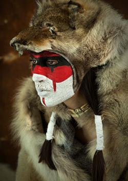 Shaman in wolf skin cloak