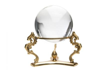 Crystal ball used for divination.