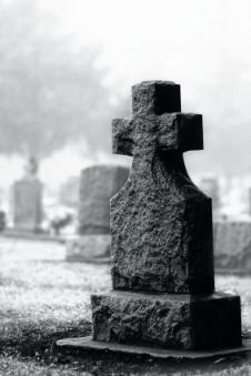 Spooky haunted graveyard