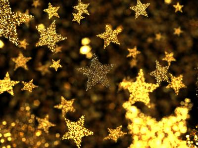 Golden star decorations