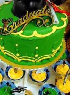 Green graduation cake