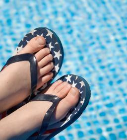 Patriotic flip flops by the pool