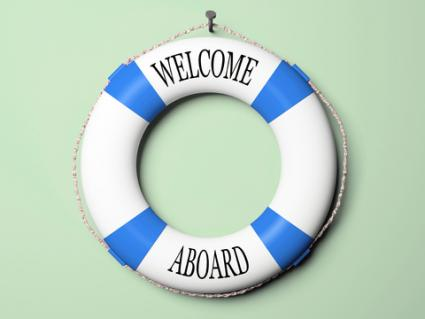 """Life preserver that proclaims """"Welcome Aboard!""""; © Hemul 