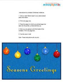 Horizontal Christmas Invitation with Ornaments