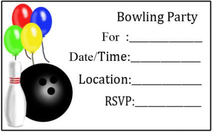 balloons and bowling party invitation