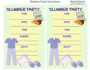 xslumberpartyinvitethumb, Party invitations