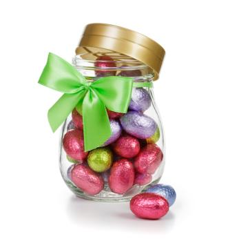 Candy eggs in jar