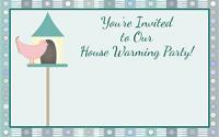 Bird house house warming invitation