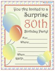 80th Surprise Party Invite 1