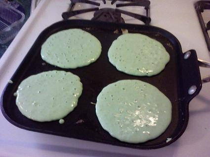 Green pancakes. Photo by SchultzLabs on Flickr