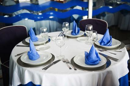 Color-coordinated banquet table setting
