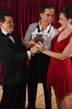 Couple receiving an award