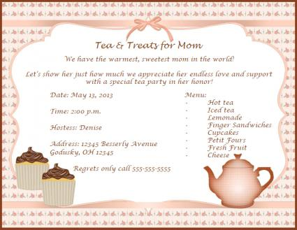 Invitations for mother 39 s day lovetoknow for Tea party menu template