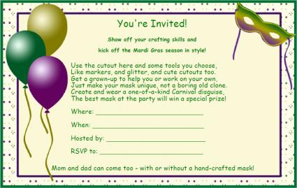 mardi gras party invitations, Party invitations