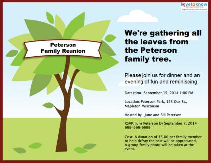 Family Reunion Invitation – Free Printable Family Reunion Invitations
