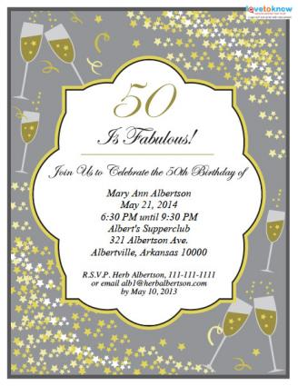 50th birthday party invitations, Birthday invitations