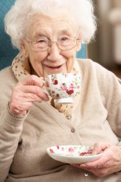 senior woman drinking tea