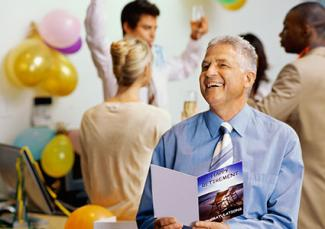 Man at retirement party