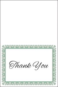 green and white thank you card